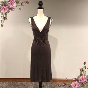 MAKE AN OFFER ;) Deep V neck brown midi dress